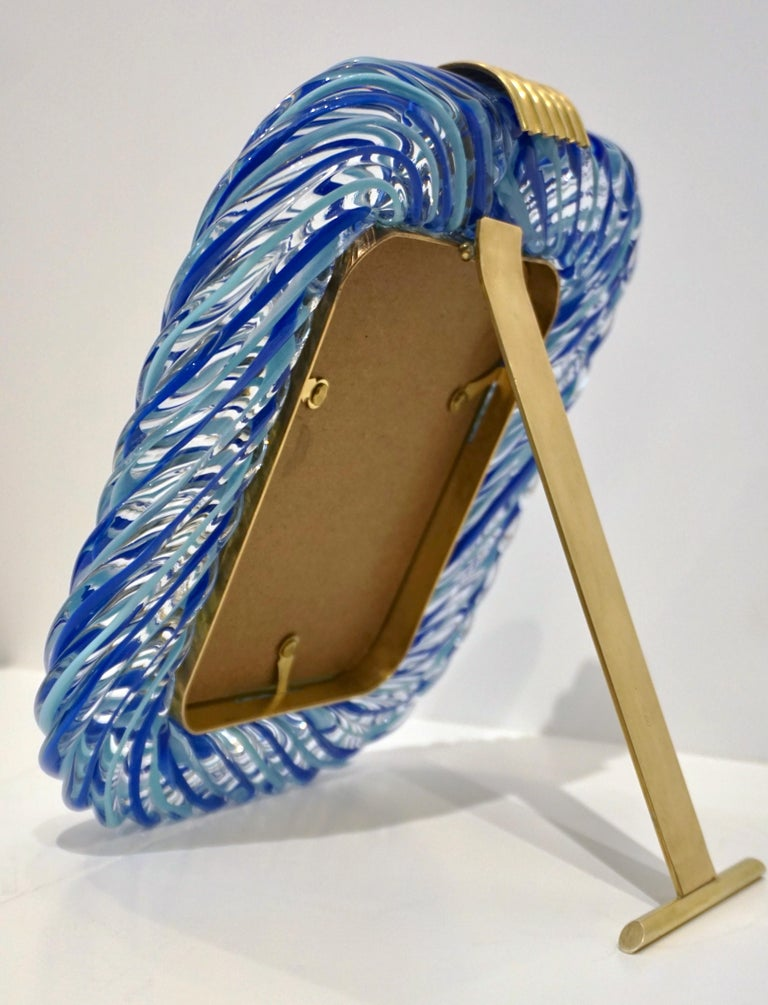 Hand-Crafted Barovier Toso Vintage Light and Dark Blue Crystal Murano Glass Photo Frame For Sale