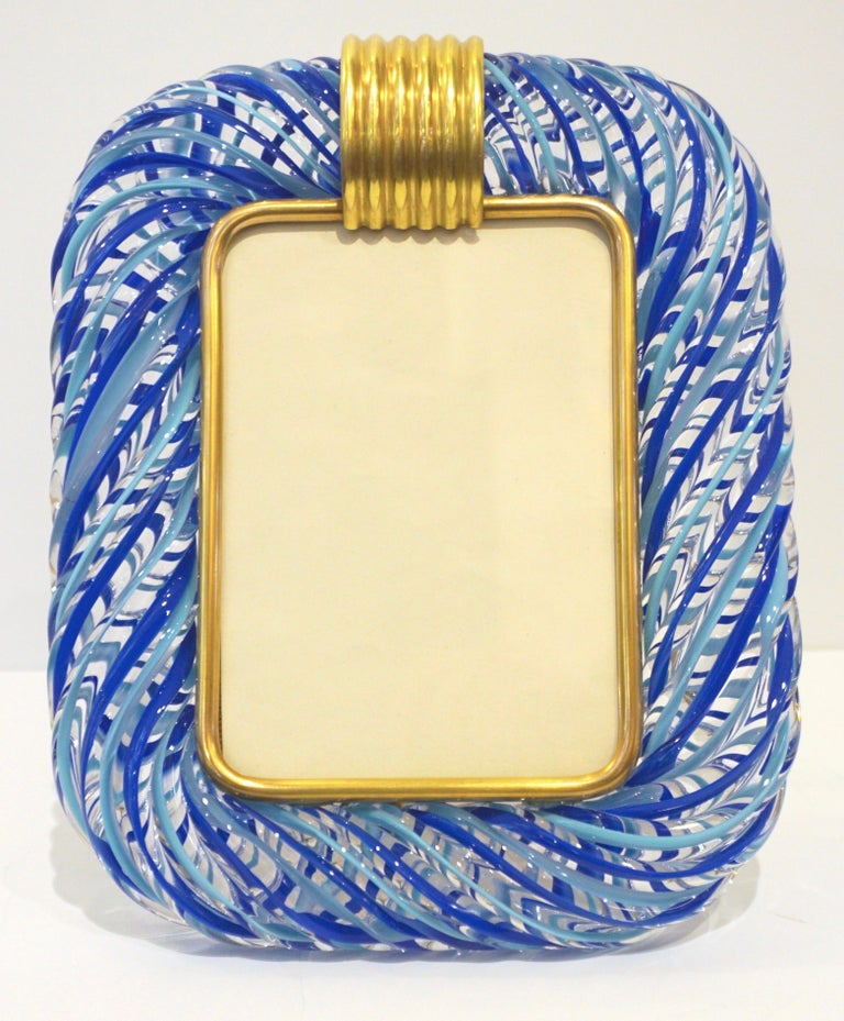 Late 20th Century Barovier Toso Vintage Light and Dark Blue Crystal Murano Glass Photo Frame For Sale