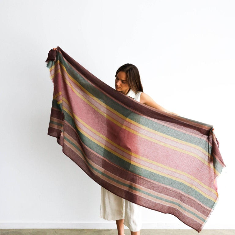 Custom design by Studio Variously, Barque scarf / wrap / shawl is a handwoven piece using soft merino yarns made by master artisans in Nepal.