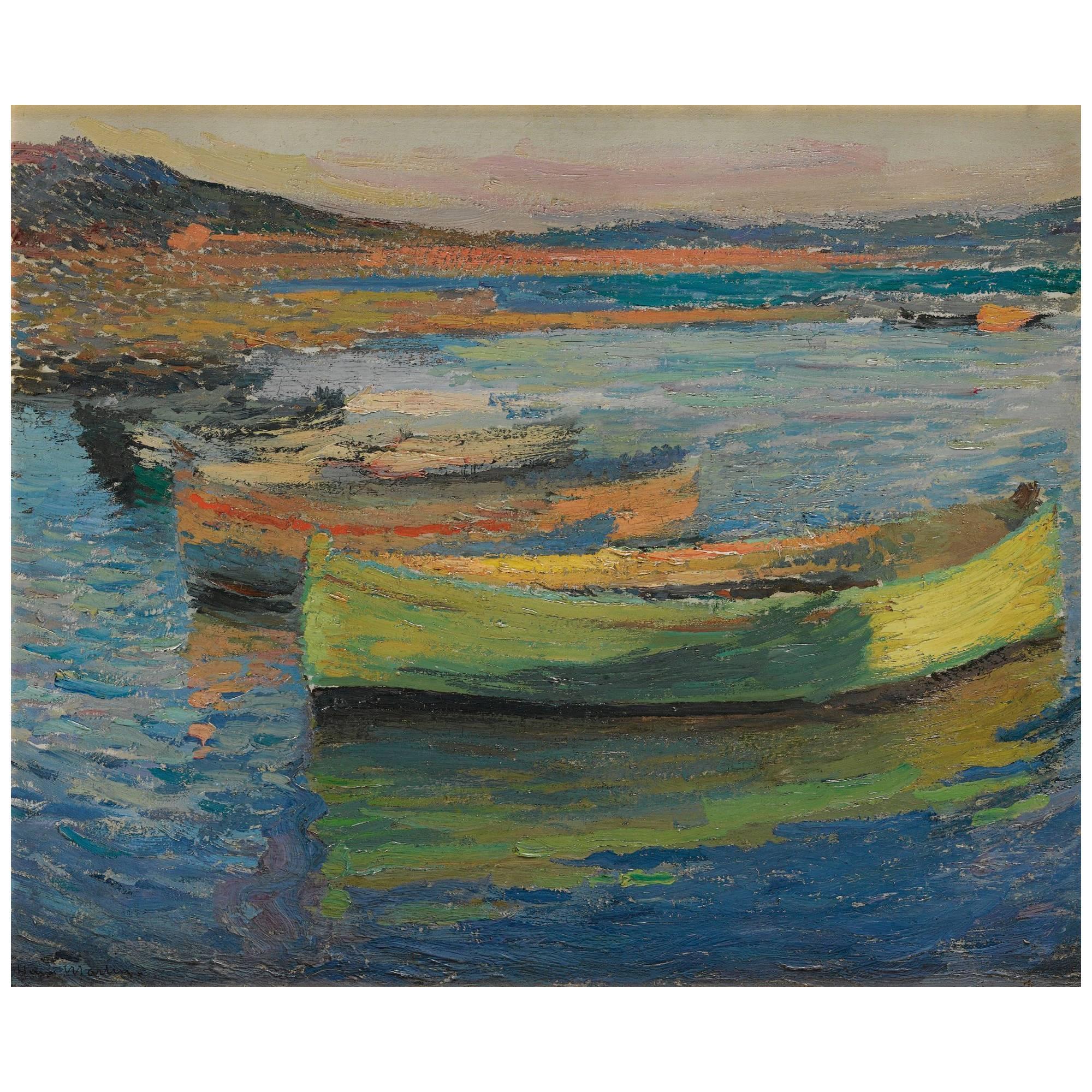 """""""Barques Aux Environs De Collioure"""" by Henri Martin"""