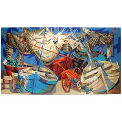 """Barques et Filets"" Maritime Colorful Tapestry Signed ""Robert Debieve"""