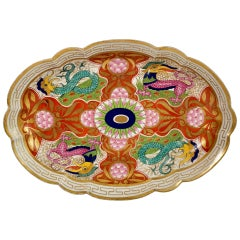Barr Flight & Barr Oval Dish, Dragons in Compartments, Regency 1807-1813