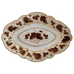 Barr Flight & Barr Porcelain Dish, Brown Vines Pattern, Regency 1804-1813