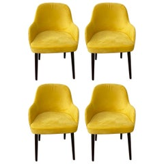 Barrel Back Armchair or Side Chair Mid-Century Modern Style, a Set of 4