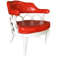 Barrel Back Hollywood Regency Spiral Carved Chair by Dorothy Draper