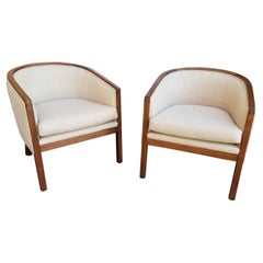Barrel Back Lounge Chairs a Pair