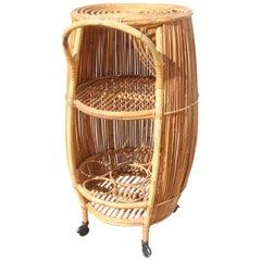Barrel Bar Cart Cabinet  Italian design Bamboo Mid-Century Modern Casa del Bambù