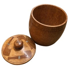 Barrel Shaped Burled Birch Wood and Mahogany Tobacco Box
