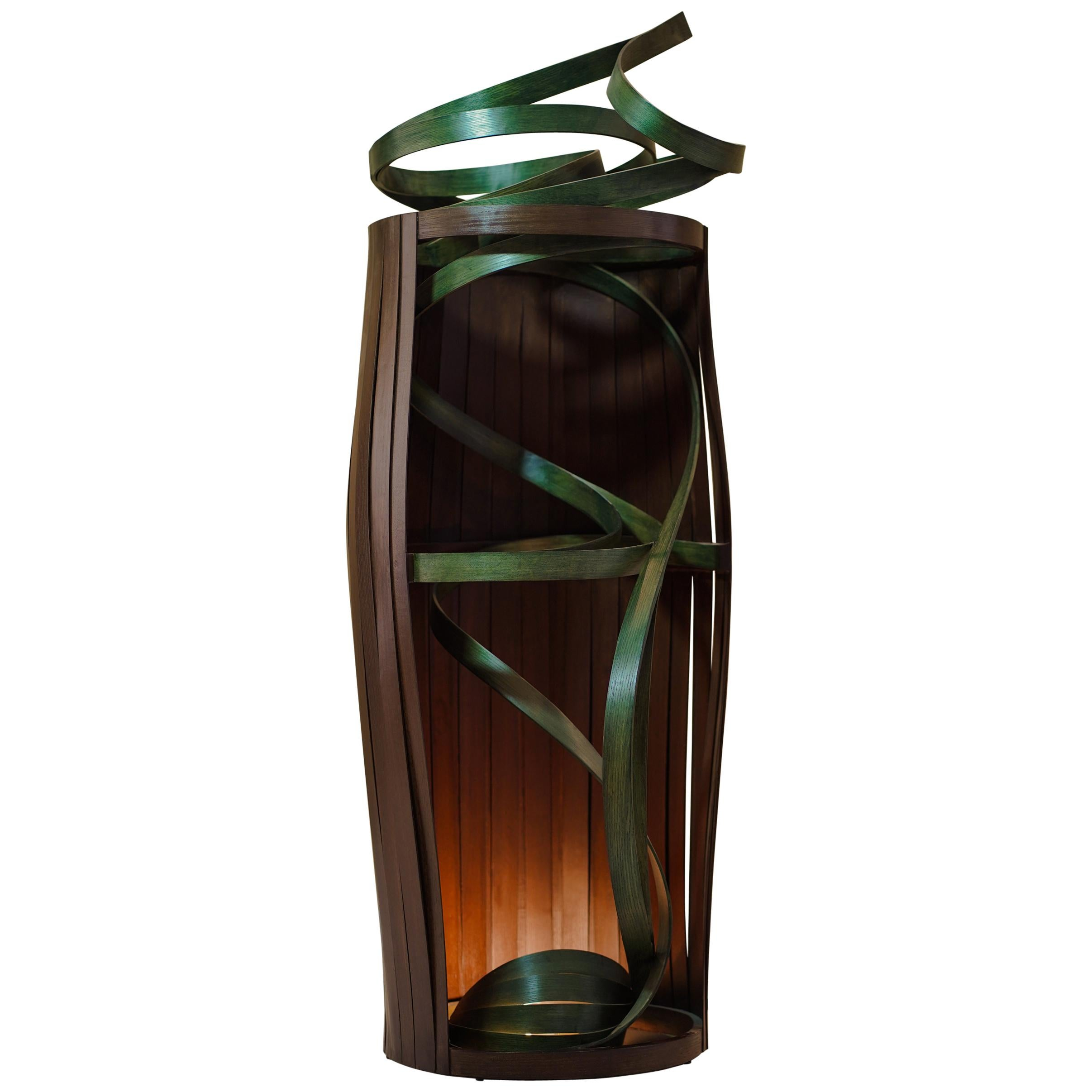 Barrel Shaped Sculptural Solid Bent Wood Floor Lamp, Handcrafted by Raka Studio