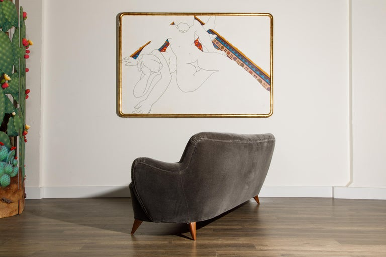 'Barrel Sofa' in Grey Mohair by Vladimir Kagan, Signed and Registered with COA For Sale 3