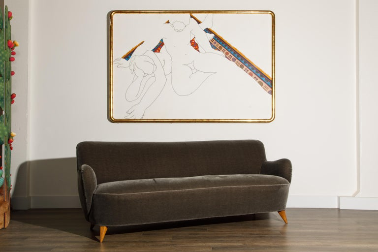American 'Barrel Sofa' in Grey Mohair by Vladimir Kagan, Signed and Registered with COA For Sale