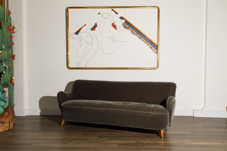 'Barrel Sofa' in Grey Mohair by Vladimir Kagan, Signed and Registered with COA In Good Condition For Sale In Los Angeles, CA