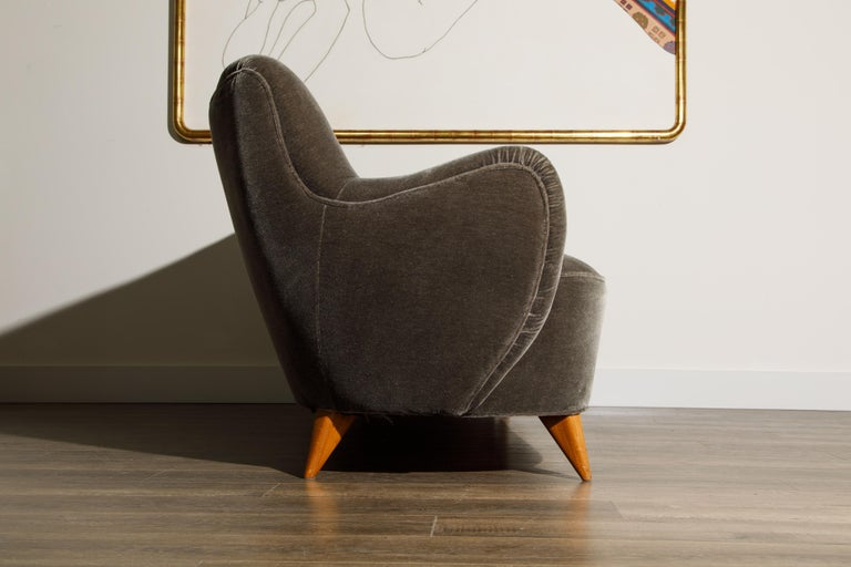20th Century 'Barrel Sofa' in Grey Mohair by Vladimir Kagan, Signed and Registered with COA For Sale
