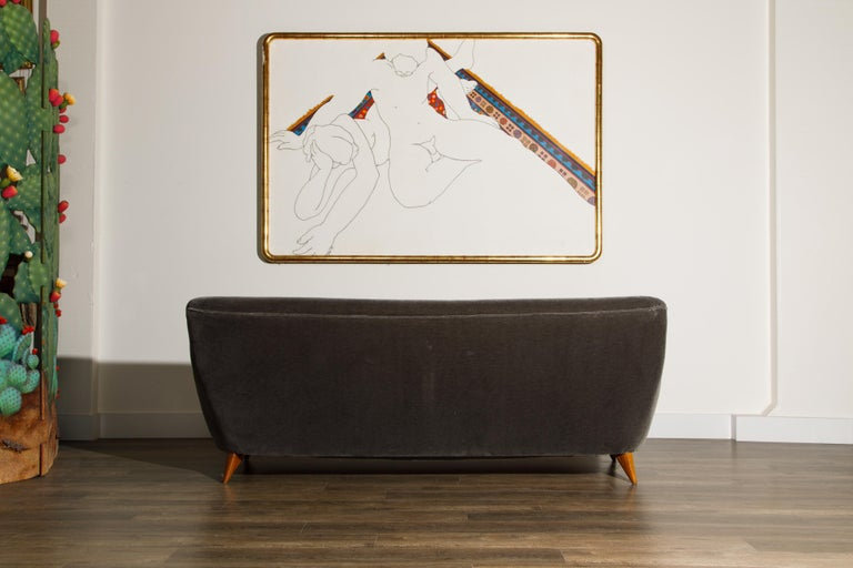 'Barrel Sofa' in Grey Mohair by Vladimir Kagan, Signed and Registered with COA For Sale 1