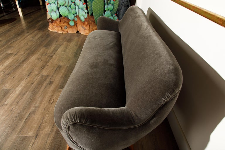 'Barrel Sofa' in Grey Mohair by Vladimir Kagan, Signed and Registered with COA For Sale 2