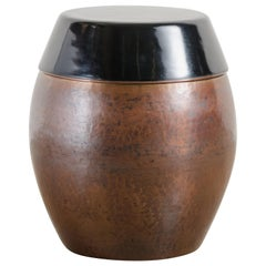 Barrel Storage Drumstool, Antique Copper and Black Lacquer by Robert Kuo