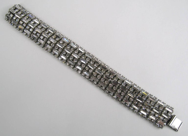 BARRERA Wide Silver Bracelet Crystal New Never Worn 1990s In New Condition For Sale In Wallkill, NY