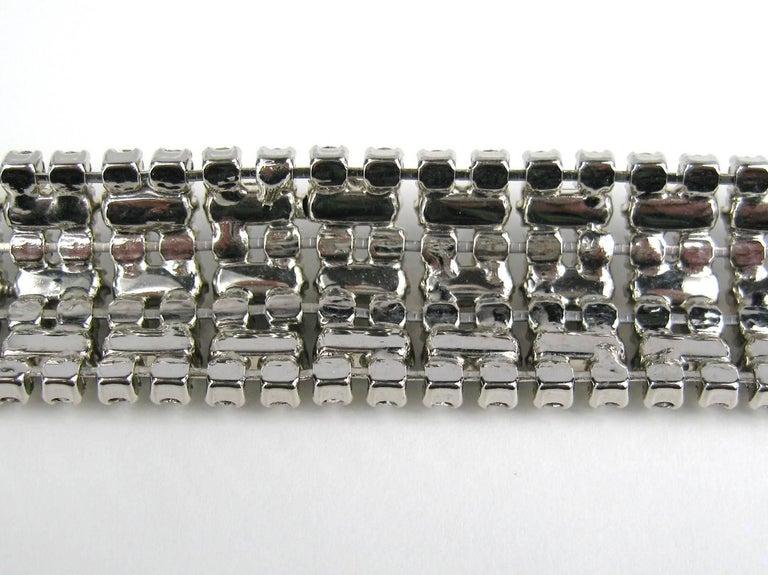 Women's BARRERA Wide Silver Bracelet Crystal New Never Worn 1990s For Sale