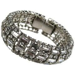 BARRERA Wide Silver Bracelet Crystal New Never Worn 1990s