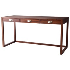 Barrett Desk in Mahogany and Satin Nickel by Matthew Fairbank