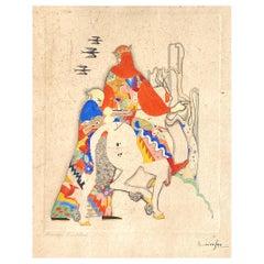 """Barrhas the Bird Catcher,"" Masterful Art Deco Painting in Orange, Blue & Yellow"