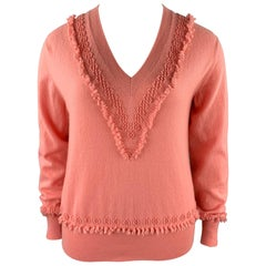 BARRIE Size XL Salmon Pink Knitted Cashmere Sweater