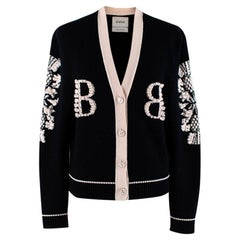 Barrie Two-Tone Monogram Cashmere Cardigan - Size XS