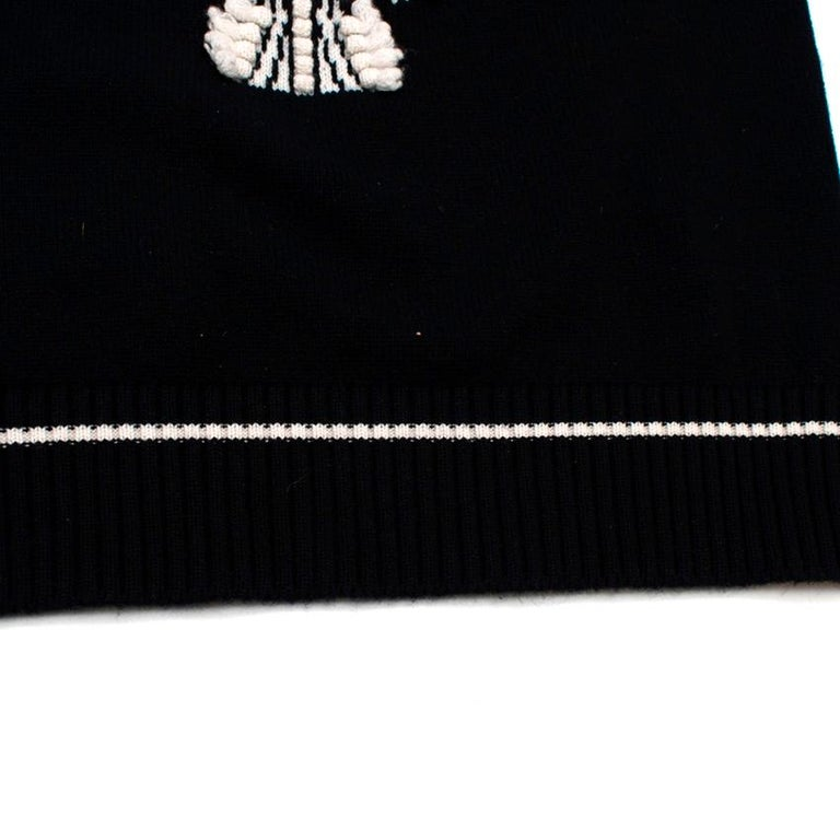Black Barrie Two-Tone Monogram Cashmere Sweater - Size XS