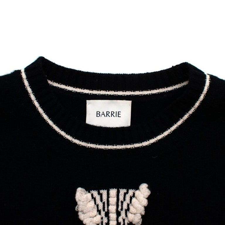 Barrie Two-Tone Monogram Cashmere Sweater - Size XS In Excellent Condition In London, GB
