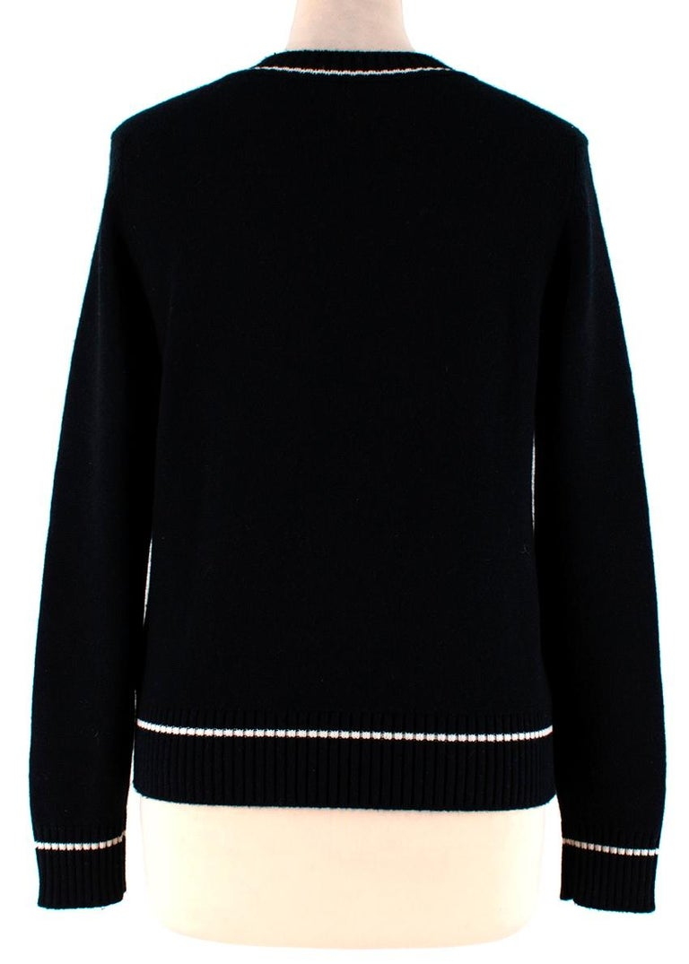 Women's Barrie Two-Tone Monogram Cashmere Sweater - Size XS