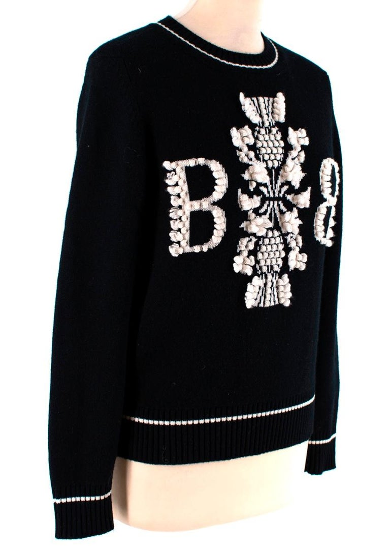 Barrie Two-Tone Monogram Cashmere Sweater - Size XS 1