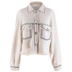 Barrie White Cashmere Blend Contrast Stitch Knit Jacket XS