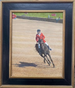 Cornering the Course, original realistic equestrian landscape