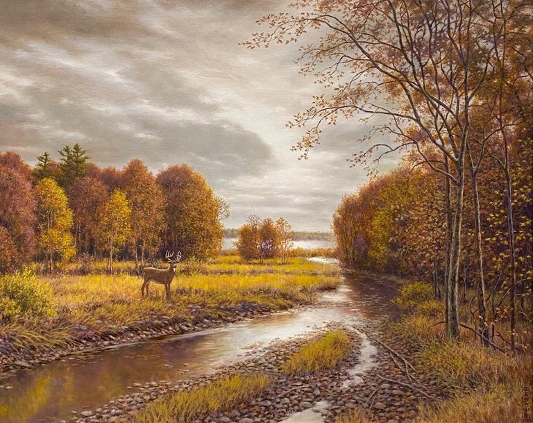 Silver, Gold and Rust, original 24x30 realistic Hudson River autumn landscape - Painting by Barry DeBaun