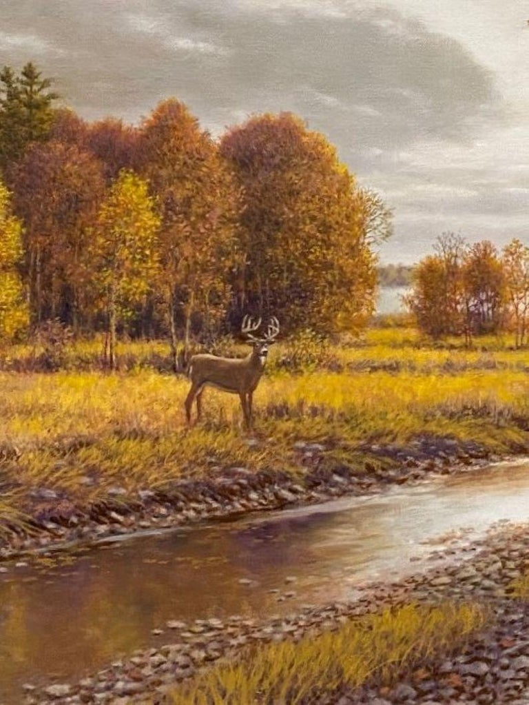 Silver, Gold and Rust, original 24x30 realistic Hudson River autumn landscape - Realist Painting by Barry DeBaun