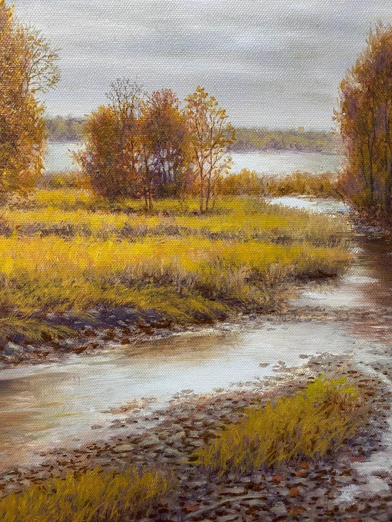 Silver, Gold and Rust, original 24x30 realistic Hudson River autumn landscape - Brown Landscape Painting by Barry DeBaun