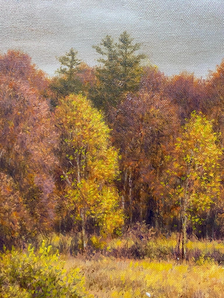 Silver, Gold and Rust, original 24x30 realistic Hudson River autumn landscape For Sale 1