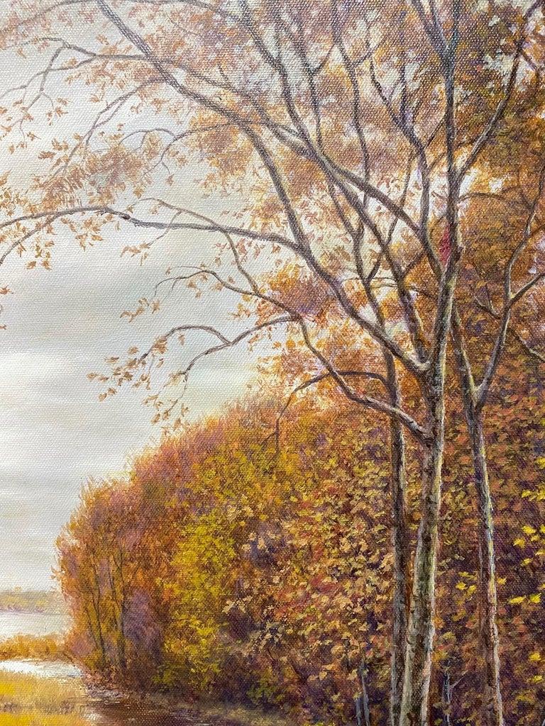 Silver, Gold and Rust, original 24x30 realistic Hudson River autumn landscape For Sale 2