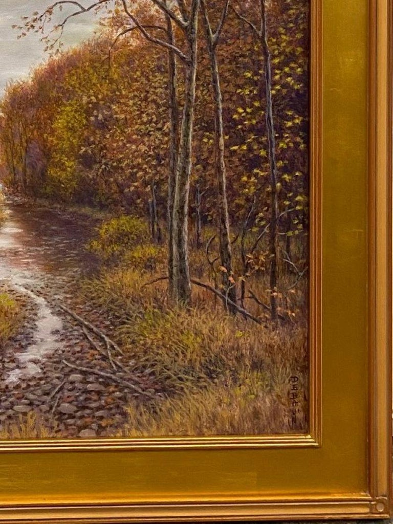 Silver, Gold and Rust, original 24x30 realistic Hudson River autumn landscape For Sale 3