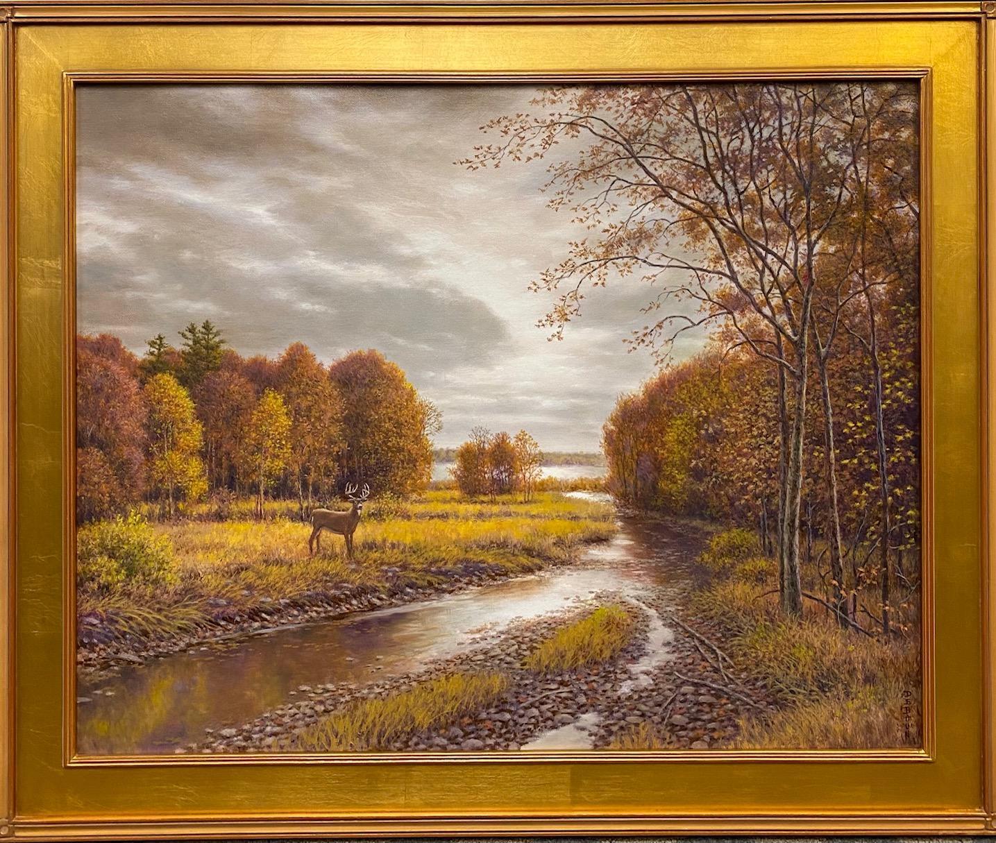 Silver, Gold and Rust, original 24x30 realistic Hudson River autumn landscape