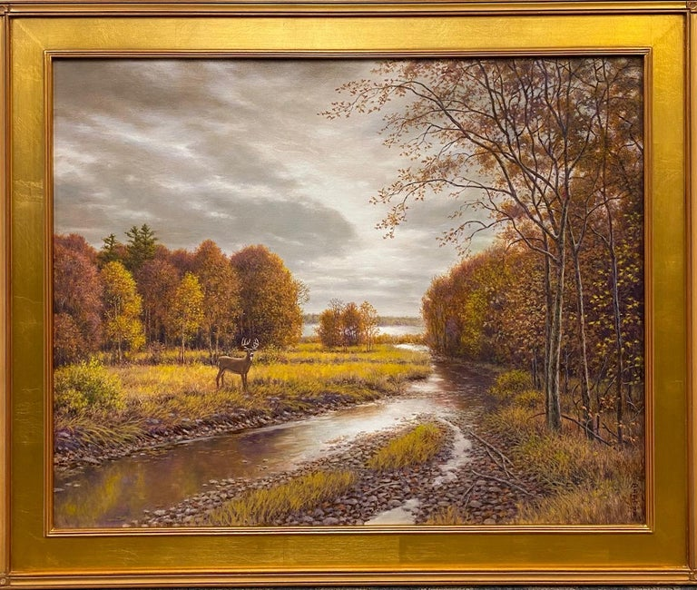 Barry DeBaun Landscape Painting - Silver, Gold and Rust, original 24x30 realistic Hudson River autumn landscape