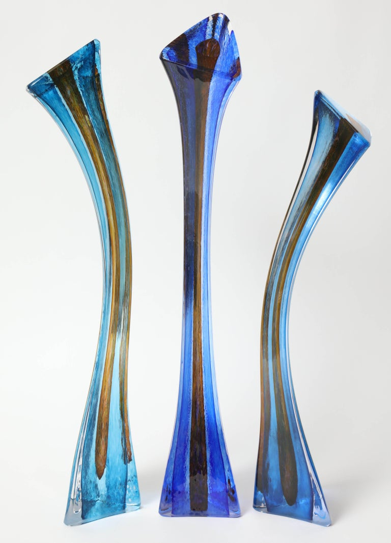 Contemporary American artist Barry Entner's Triangle Solids Glass Sculpture is created with consideration of each individual piece as paint strokes that, once assembled, becomes the desired composition. He doesn't make these using traditional blown