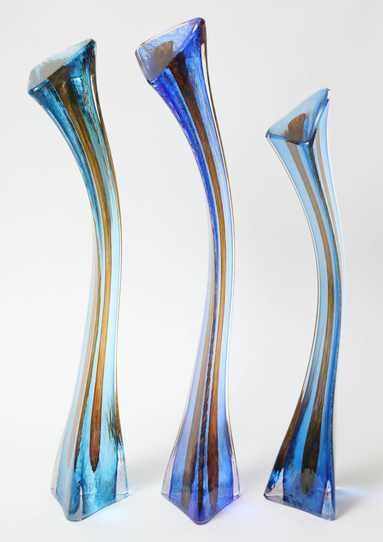 Mid-Century Modern Barry Entner Triangle Solids Glass Sculpture, 2014 For Sale