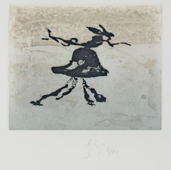 """Rabbit,"" etching and aquatint by Barry Flanagan"