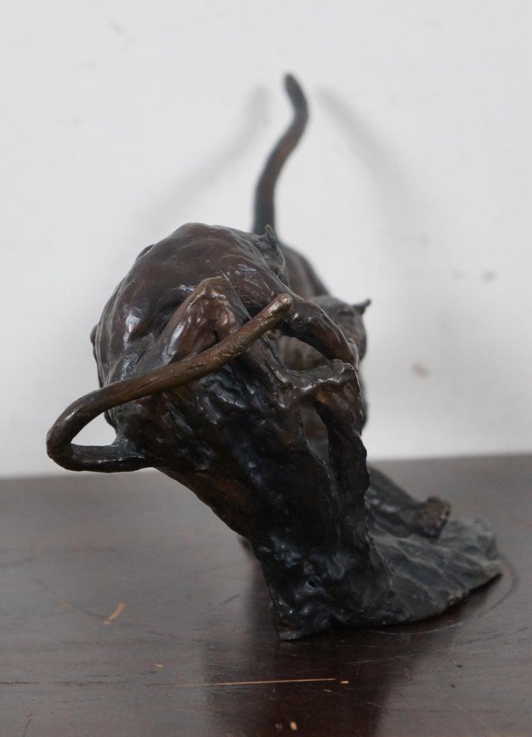 Barry Jackson Cast Bronze Baboon Leopard Fighting Sculpture Big Cat Monkey For Sale 1
