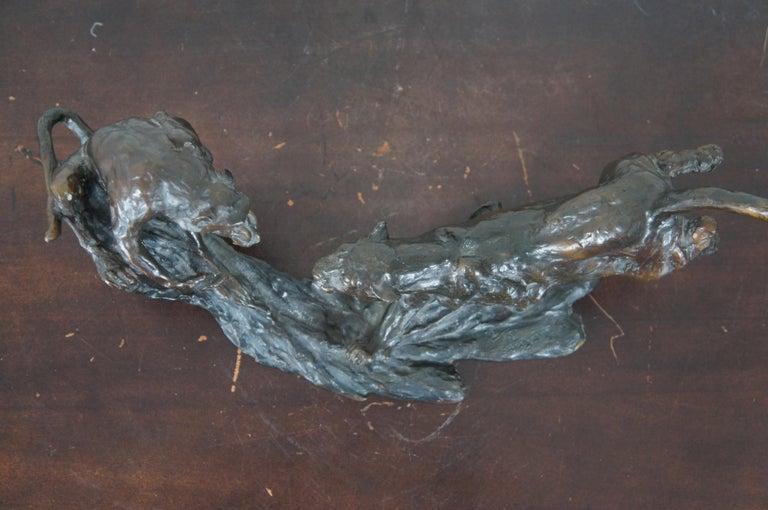 Barry Jackson Cast Bronze Baboon Leopard Fighting Sculpture Big Cat Monkey For Sale 3