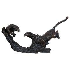 Barry Jackson Cast Bronze Baboon Leopard Fighting Sculpture Big Cat Monkey