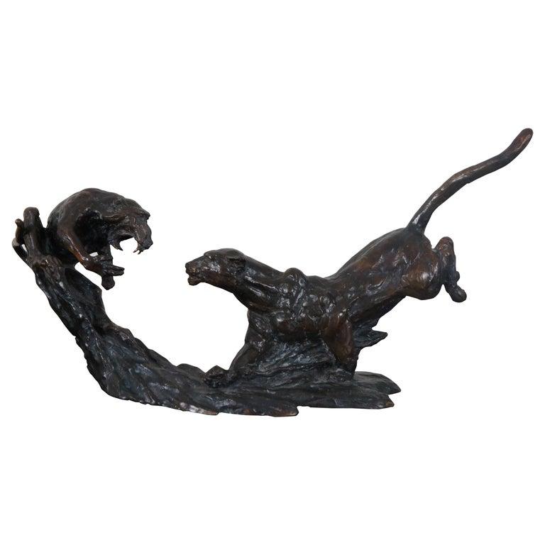Barry Jackson Cast Bronze Baboon Leopard Fighting Sculpture Big Cat Monkey For Sale
