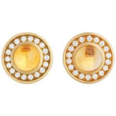 Barry Kieselstein-Cord 18 Karat Gold Diamond and 5.20 Carat Citrine Earrings