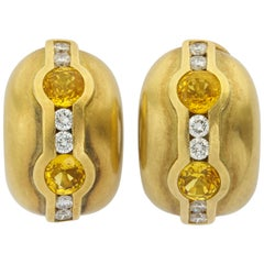 Barry Kieselstein Cord 1997 White and Yellow Diamond Gold Earclips